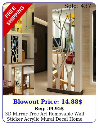 d mirror tree art removable wall sticker acrylic mural decal home room deco