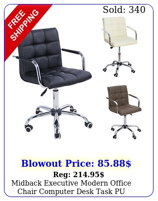 midback executive modern office chair computer desk task pu leather swive