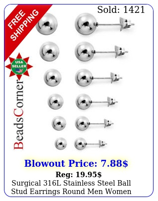 surgical l stainless steel ball stud earrings round men women p