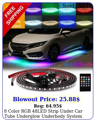 color rgb led strip under car tube underglow underbody system neon light ki
