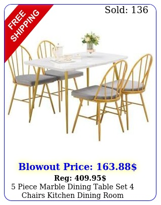piece marble dining table set chairs kitchen dining room breakfast nook u