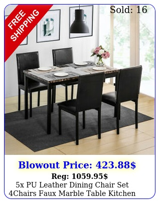 x pu leather dining chair set chairs faux marble table kitchen furniture blac