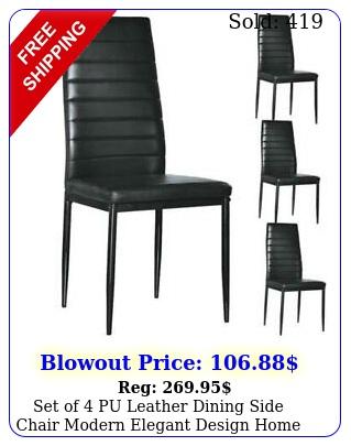 set of pu leather dining side chair modern elegant design home furniture blac