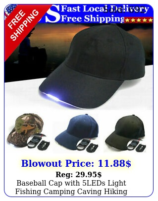 baseball cap with leds light fishing camping caving hiking adjustable power ha
