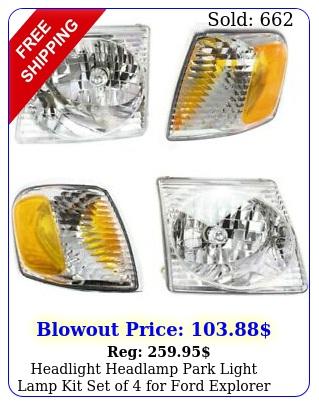 headlight headlamp park light lamp kit set of ford explorer sport tra