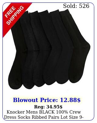 knocker mens black crew dress socks ribbed pairs lot size