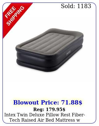 intex twin deluxe pillow rest fibertech raised air bed mattress w pump