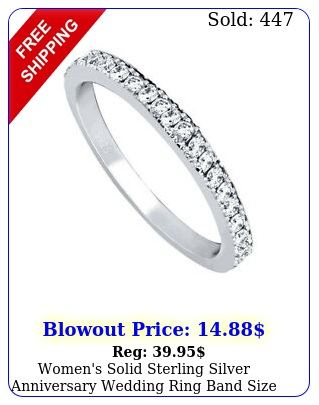 women's solid sterling silver anniversary wedding ring band size
