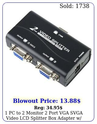 pc to monitor port vga svga video lcd splitter adapter w power cabl