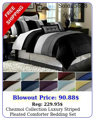 chezmoi collection luxury striped pleated comforter bedding se