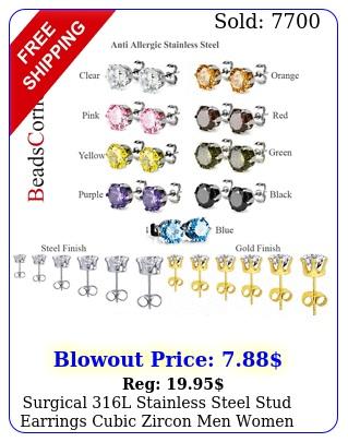 surgical l stainless steel stud earrings cubic zircon men women p