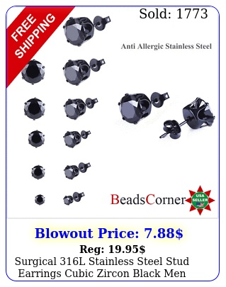 surgical l stainless steel stud earrings cubic zircon black men women p