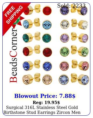 surgical l stainless steel gold birthstone stud earrings zircon men women p