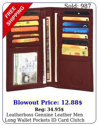leatherboss genuine leather men long wallet pockets id card clutch bifold purs