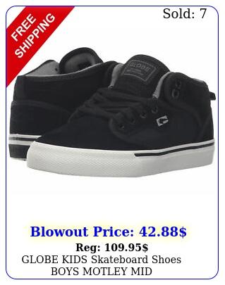 globe kids skateboard shoes boys motley mid blackantiqu