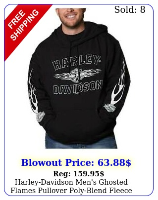 harleydavidson men's ghosted flames pullover polyblend fleece hoodie blac