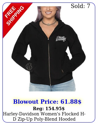 harleydavidson women's flocked hd zipup polyblend hooded sweatshirt blac