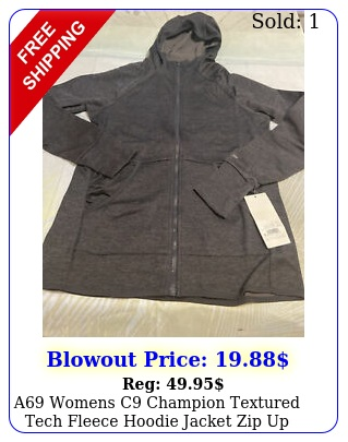 a womens c champion textured tech fleece hoodie jacket zip up dark gray smal