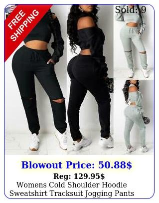 womens cold shoulder hoodie sweatshirt tracksuit jogging pants sport lounge wea