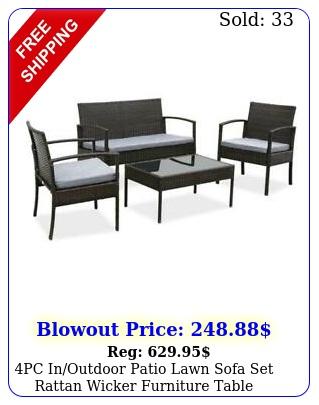 pc inoutdoor patio lawn sofa set rattan wicker furniture table cushion garde