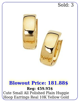 cute small all polished plain huggie hoop earrings real k yellow gol