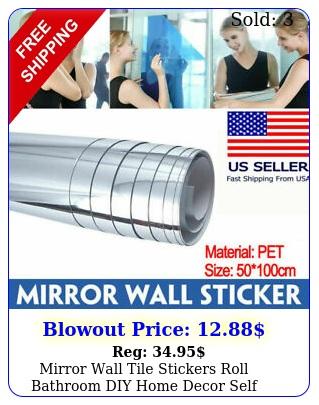 mirror wall tile stickers roll bathroom diy home decor self adhesive reflectiv