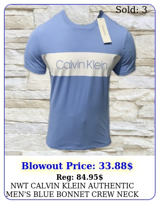 nwt calvin klein authentic men's blue bonnet crew neck short sleeve tshir