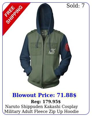naruto shippuden kakashi cosplay military adult fleece zip up hoodie sweatshir