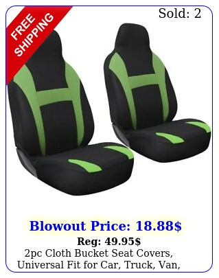 pc cloth bucket seat covers universal fit car truck van suv greenblac