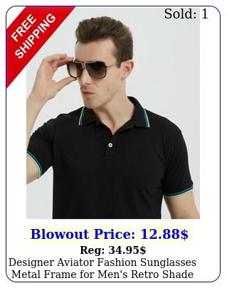 designer aviator fashion sunglasses metal frame men's retro shade sunnie