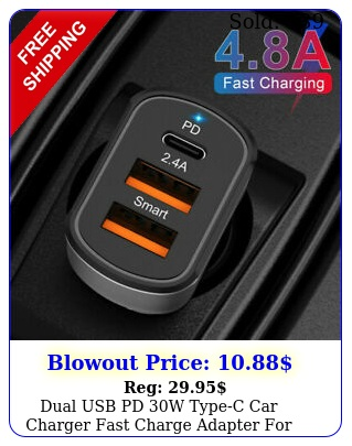 dual usb pd w typec car charger fast charge adapter iphone  pro ma