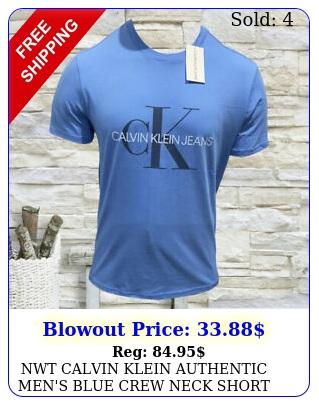 nwt calvin klein authentic men's blue crew neck short sleeve tshirt size s