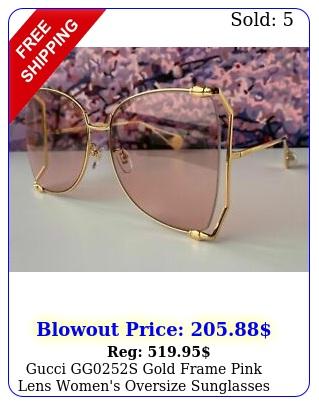 gucci ggs gold frame pink lens women's oversize sunglasses butterfl