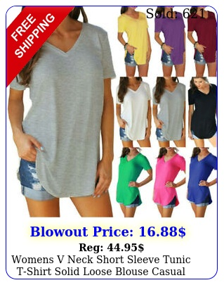 womens v neck short sleeve tunic tshirt solid loose blouse casual summer top