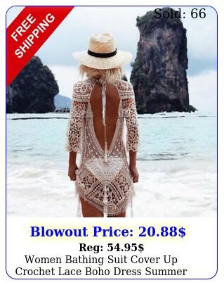 women bathing suit cover up crochet lace boho dress summer beach bikini sundres