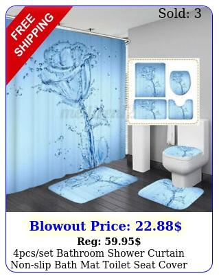 pcsset bathroom shower curtain nonslip bath mat toilet seat cover rug p