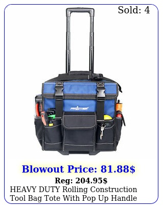 heavy duty rolling construction tool bag tote with pop up handle wheels inc