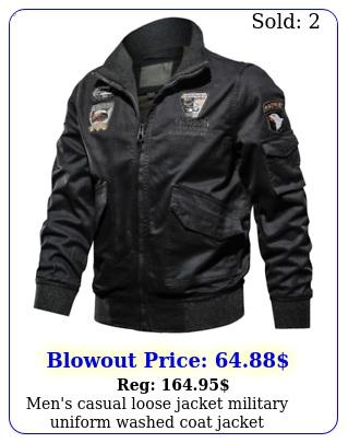 men's casual loose jacket military uniform washed coat jacke