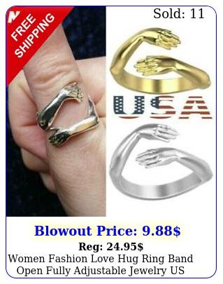 women fashion love hug ring band open fully adjustable jewelry u
