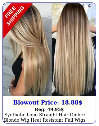 synthetic long straight hair ombre blonde wig heat resistant full wigs wome