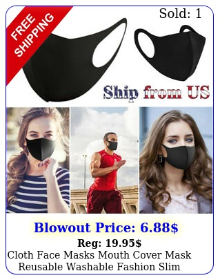 cloth face masks mouth cover mask reusable washable fashion slim black adultsiz