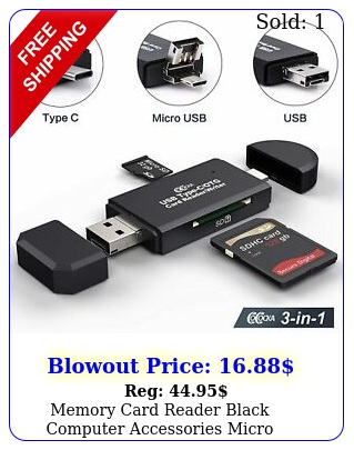 memory card reader black computer accessories micro compact flash adapte