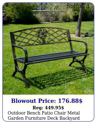 outdoor bench patio chair metal garden furniture deck backyard park porch sea