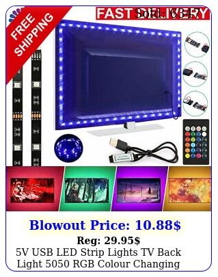 v usb led strip lights tv back light rgb colour changing with key remot