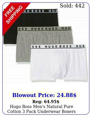 hugo boss men's natural pure cotton pack underwear boxers trunk