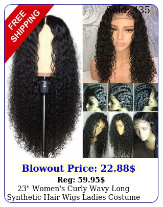 women's curly wavy long synthetic hair wigs ladies costume dark black wi