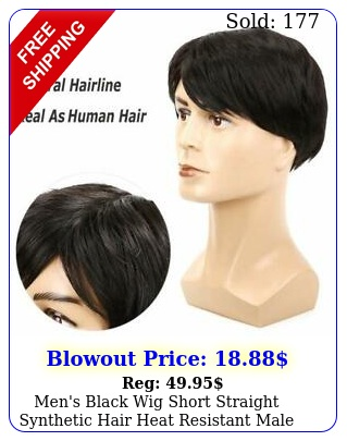 men's black wig short straight synthetic hair heat resistant male natural styl