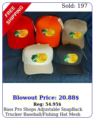 bass pro shops adjustable snapback trucker baseballfishing hat mesh ball ca