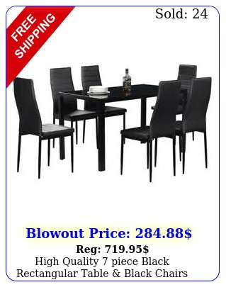high quality piece black rectangular table black chairs dining room se