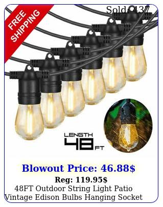 ft outdoor string light patio vintage edison bulbs hanging socket waterproo